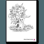 kanin med blommor målarboken 150x150