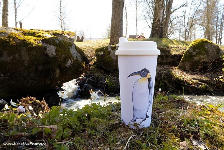 eco tubler motiv pingvin i akvarell