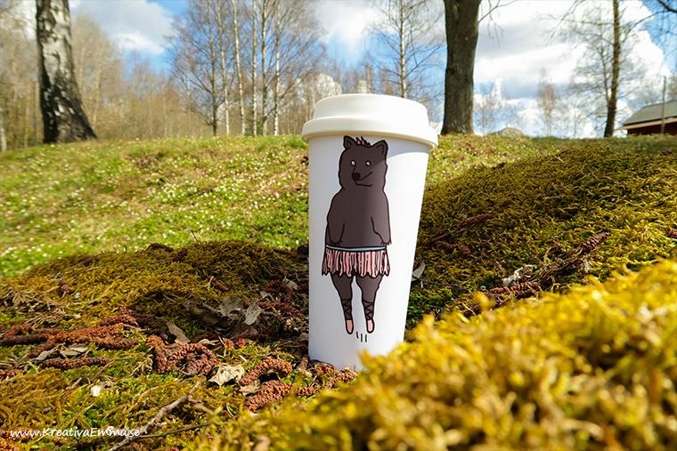 björn i kjol illustration tryckt på mugg