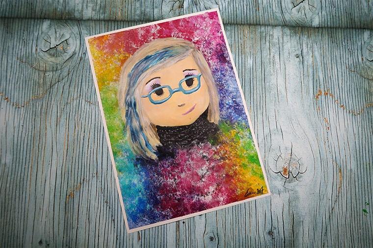 självporträtt i akryl Emma Svalander