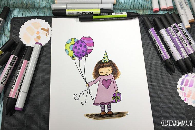 flicka med ballonger illustration