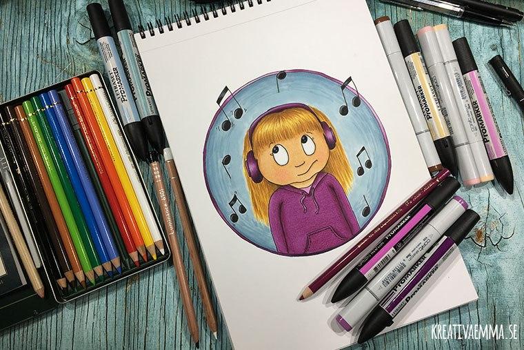 teckning flicka med musik lurar