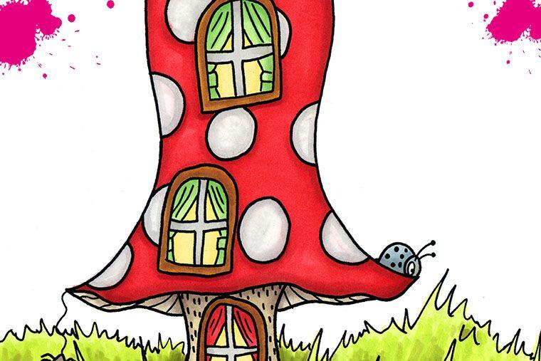 tecknad flugsvamp hus