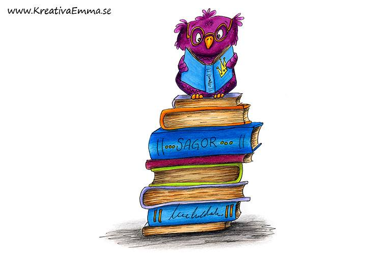 tecknad uggla som läser på böcker