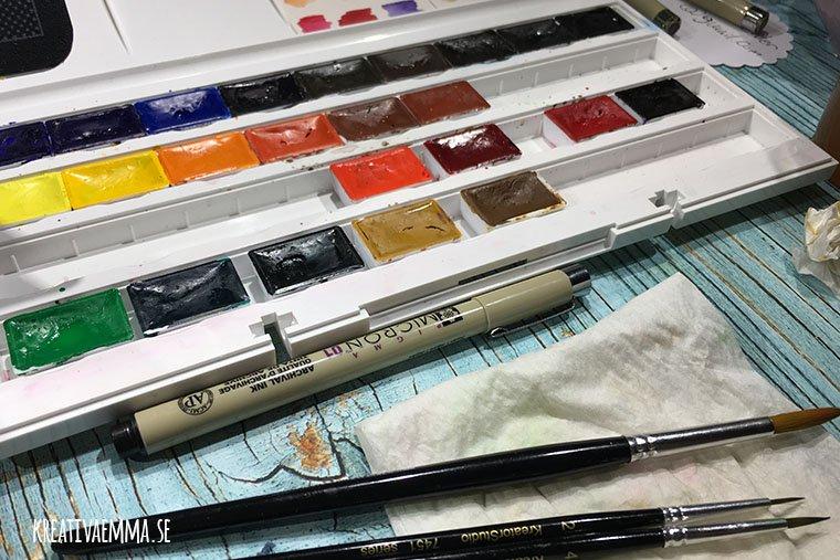 akvarellfärger och penslar