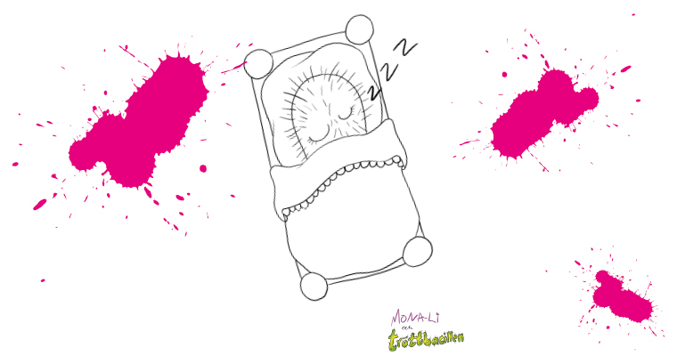 tröttbacillen sover målarbild