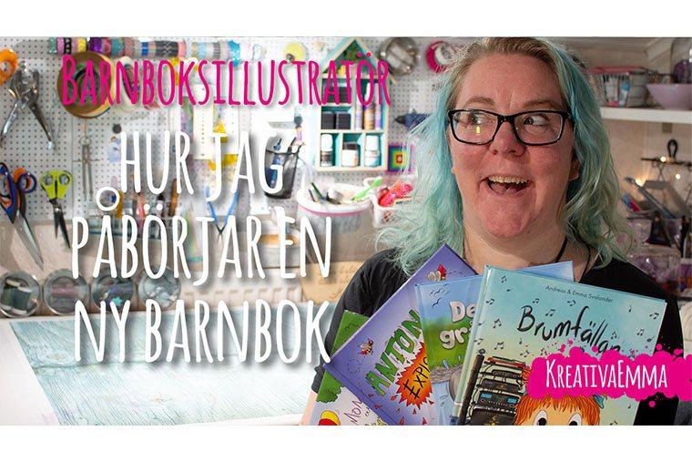 barnboksillustratör Emma Svalander håller sina böcker thubnail till youtube video